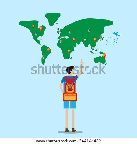 backpacker stand in front of world map selecting destination to go - stock vector