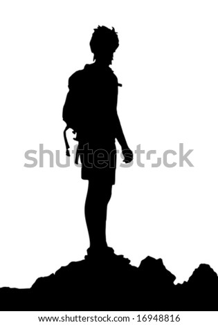 backpacker standing on top of mountain, vector illustration - stock vector