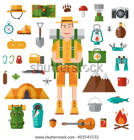 Backpacker vector camping set. Hike and camp gear in flat. Hiking equipment collection and happy camper guy with tourist backpack. Hiker character. Tourist basecamp accessories. - stock vector
