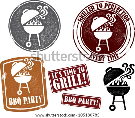 Backyard Bbq Grilling Party Stamps Stock Vector - Backyard bbq party cartoon