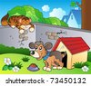 Backyard with cartoon cat and dog - vector illustration. - stock vector