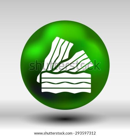 bacon logo Pieces of fresh ham isolated. - stock vector