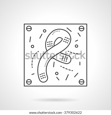 Bacteria and viruses theme. Rod-shaped bacteria. Biology micro-organisms, microbes, germs and bacilli. Flat line style single vector icon. Element for web design, business, mobile app.  - stock vector
