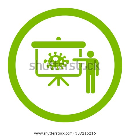 Bacteria Lecture vector icon. Style is flat rounded symbol, eco green color, rounded angles, white background. - stock vector