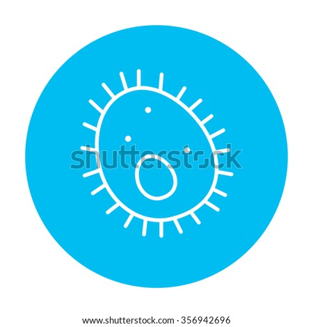 Bacteria line icon for web, mobile and infographics. Vector white icon on the light blue circle isolated on white background. - stock vector
