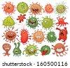Bacteria. Set. Vector illustration. Isolated on white background - stock