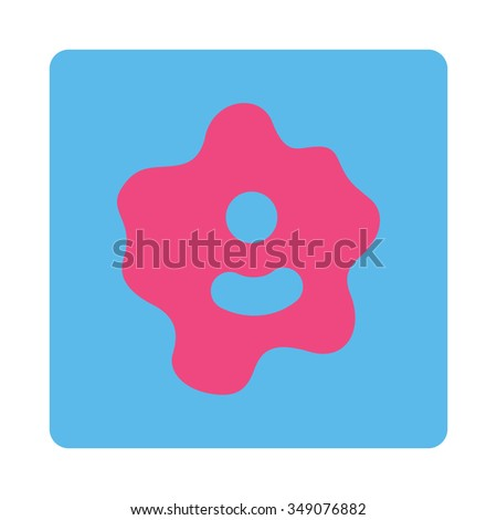 Bacteria vector icon. Style is flat rounded square button, pink and blue colors, white background. - stock vector
