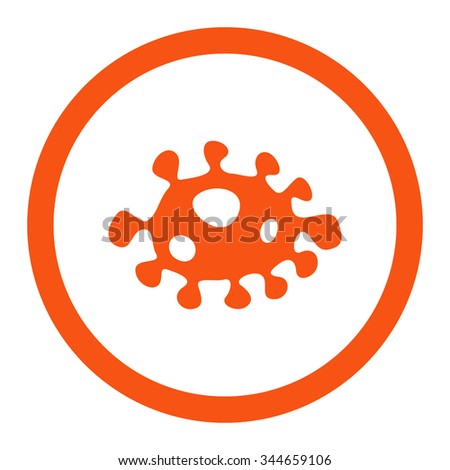 Bacteria vector icon. Style is flat rounded symbol, orange color, rounded angles, white background. - stock vector