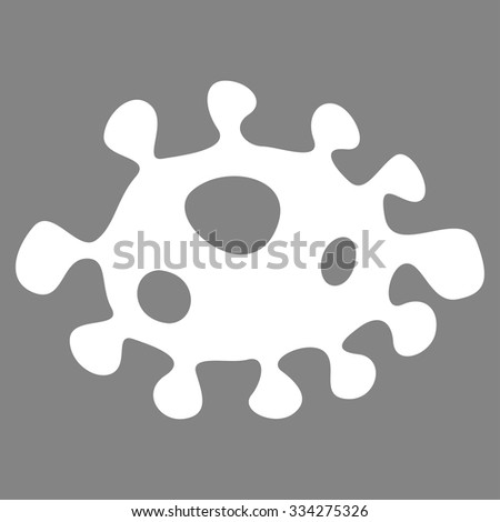 Bacteria vector icon. Style is flat symbol, white color, rounded angles, gray background. - stock vector