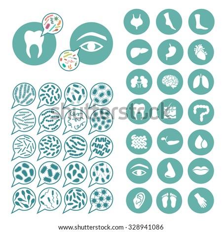 bacteria, virus infection, disease illustration - stock vector