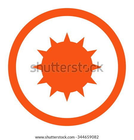 Bacterium vector icon. Style is flat rounded symbol, orange color, rounded angles, white background. - stock vector