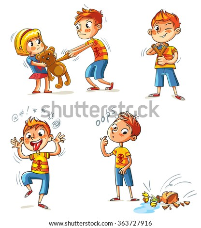 Bad behavior. The boy wants to take the girl's toy. Boy broke a vase. Bully with a slingshot shooting. Boy grimace and sticks out his tongue. Funny cartoon character. Isolated on white background. Set - stock vector