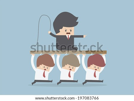 Bad Boss, Employee are carrying the leader, VECTOR, EPS10 - stock vector