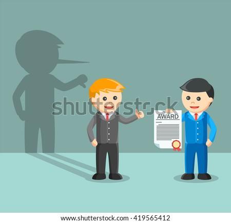 Bad employee appreciate boss award - stock vector