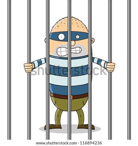 bad guy in jail - stock vector