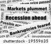 Bad investor news. Bear market. Financial newspaper cuttings. Incomplete words. Vector illustration. - stock vector