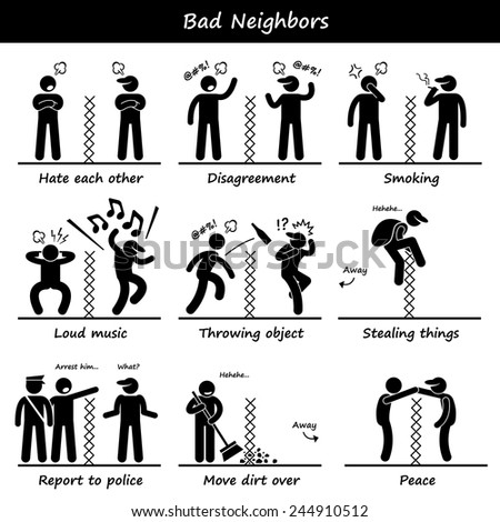 Bad Neighbors Stick Figure Pictogram Icons - stock vector