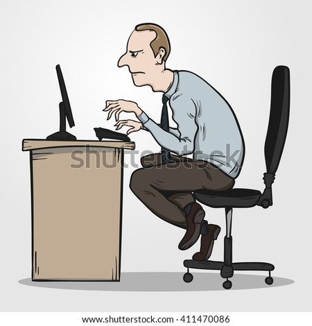 Bad sitting posture as the reason for office syndrome. Hand drawn EPS10 vector illustration