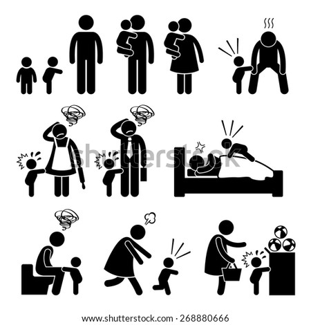Bad Temper Toddler Baby Tantrum with Mother and Father Stick Figure Pictogram Icons - stock vector