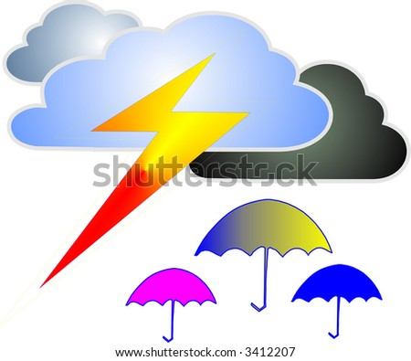 bad weather and umbrella - stock vector