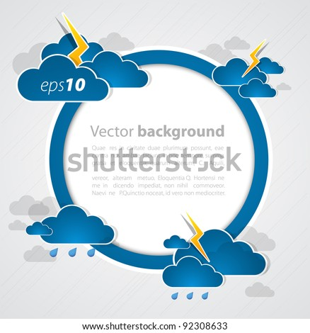 Bad weather round blank. Sky with clouds and lightnings - stock vector