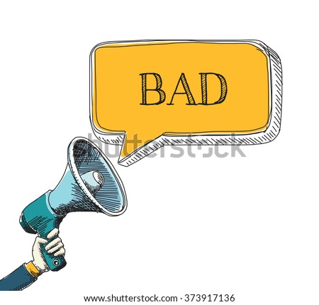 BAD  word in speech bubble with sketch drawing style - stock vector