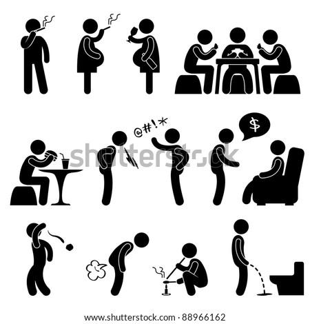 Bad Wrong behaviors Habit Lifestyle Icon Symbol Sign Pictogram - stock vector