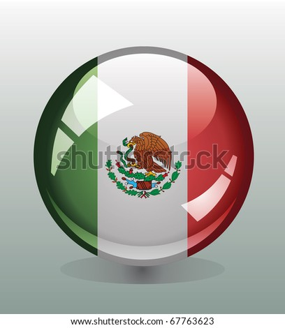 Badge button with flag of Mexico - stock vector