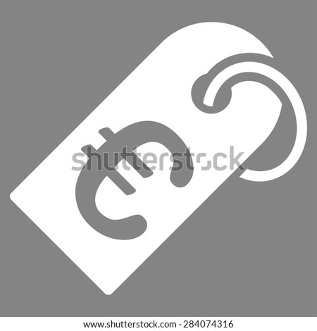 Badge from BiColor Euro Banking Icon Set. Vector style: flat, white symbol, rounded angles, gray background. - stock vector