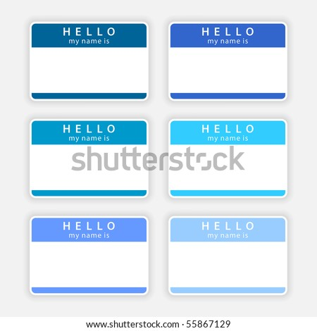 Badge name tag HELLO my name is. Colored empty stickers with shadow on gray background - stock vector