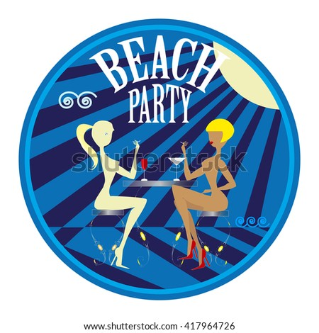 Badge or label to illustrate summer holidays activities close to the sea or during a beach party drinking fresh soft drinks