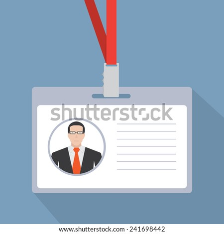 Badge template or identification card with lanyard. Conference concept - stock vector