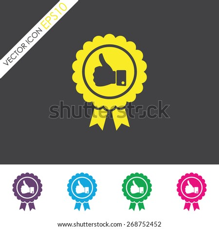 Badge with thumbs up vector icon. - stock vector