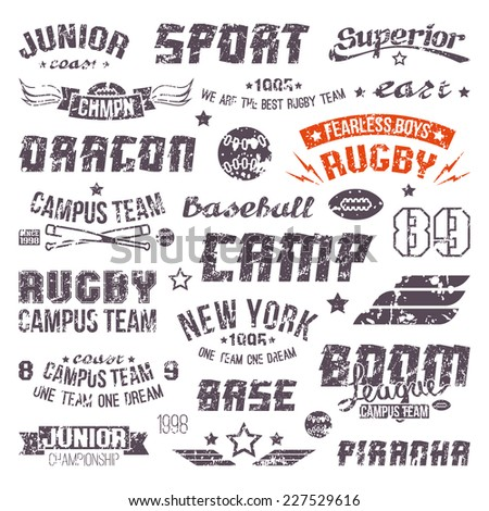 Badges baseball and rugby college team in retro style. Graphic design elements print for t-shirt with shabby texture - stock vector