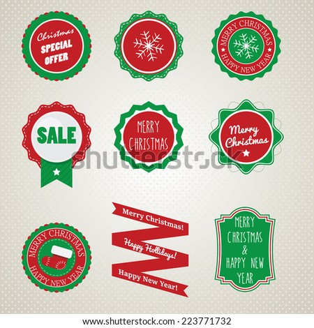 Badges for Christmas and New Year - stock vector