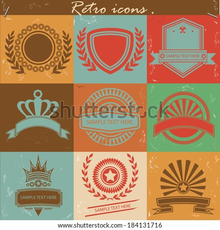 Badges icons,Vintage version,vector - stock vector