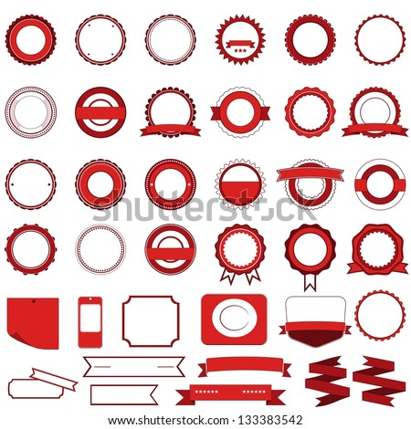 Badges, labels and stickers without text on retail. Designed in red - stock vector