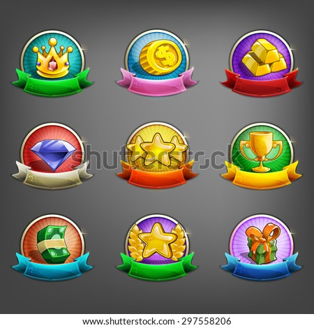 Badges of achievement for games. Vector illustration. - stock vector