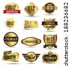 Badges tag label sticker gold set. Can use for business guarantee, promotion, offer, web element. - stock vector
