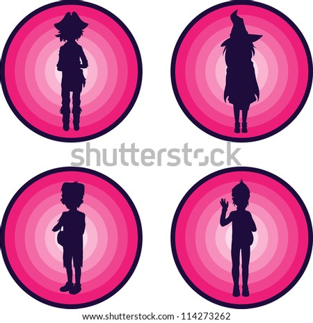 Badges with Silhouettes of kids in scary halloween suits - stock vector