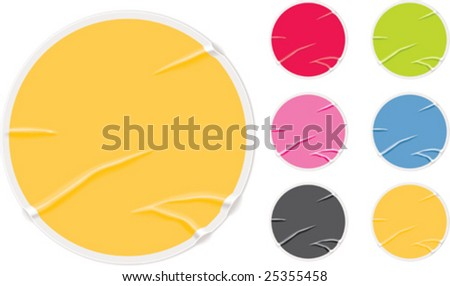 Badly glued old blank stickers - stock vector
