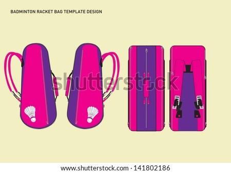badminton racket back template - stock vector