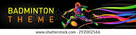 Badminton sport invitation poster banner template with Female badminton player. Vector illustration - stock vector
