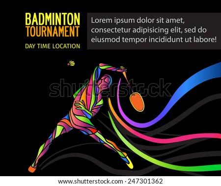 Badminton Sport Invitation Poster Flyer Background Stock