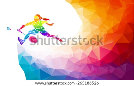 Badminton sport invitation poster or flyer background with empty space, banner template in trendy abstract colorful polygon style. Female badminton player. Vector illustration - stock vector