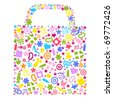 Bag For Shopping With Icons, Isolated On White Background, Vector Illustration - stock vector