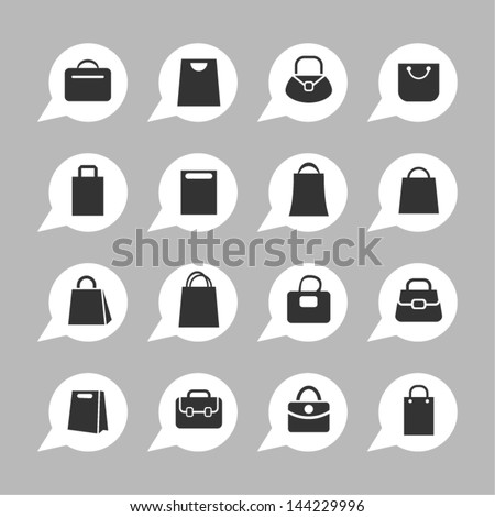 Bag icons for app - stock vector