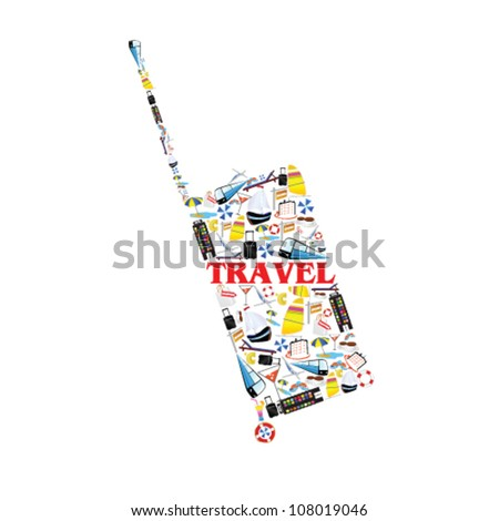 bag illustration with travel symbol vector illustration - stock vector