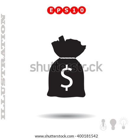 Bag money Icon. Bag money Icon Vector. Bag money Icon Object. Bag money Icon Picture. Bag money Icon Image. Bag money Icon JPG. Bag money Icon JPEG. Bag money Icon EPS. Bag money Icon Drawing. - stock vector