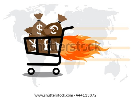 bag money in Shopping Cart express Isolated On White Background vector. - stock vector